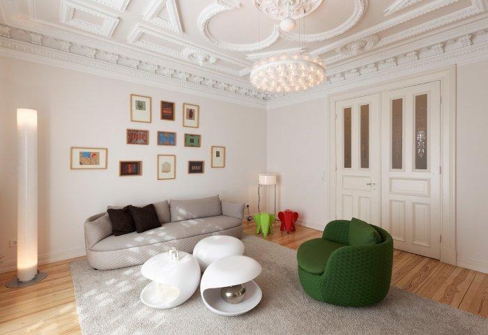 Lächelnde Putten im Stuck, moderne Designermöbel und eigene Entwürfe – ein Altbau wird herrschaftlich schön